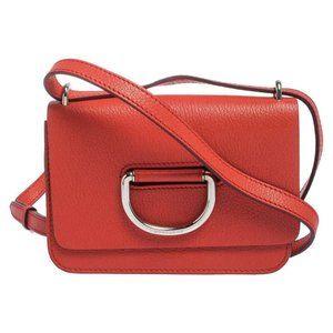 Burberry Orange Leather D-Ring Shoulder Bag
